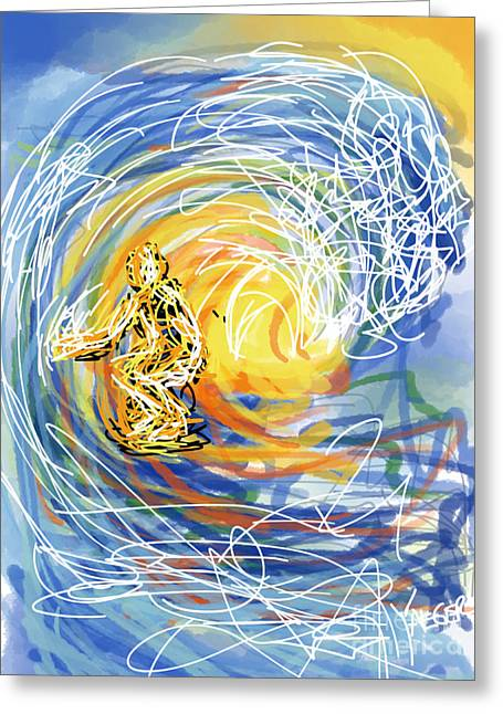 Atlantic Beaches Drawings Greeting Cards - Abstract Surfer 41 Greeting Card by Robert Yaeger