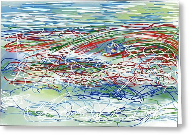 Surfer Drawings Greeting Cards - Abstract Surfer 42 Greeting Card by Robert Yaeger