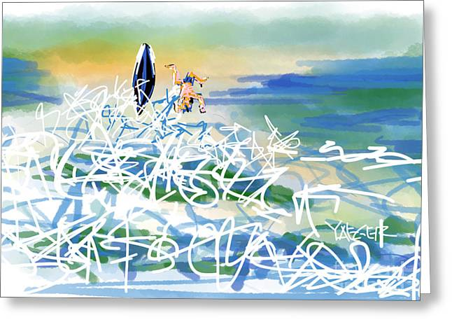 Surfer Art Greeting Cards - Abstract Surfer 43 The Wipeout Greeting Card by Robert Yaeger
