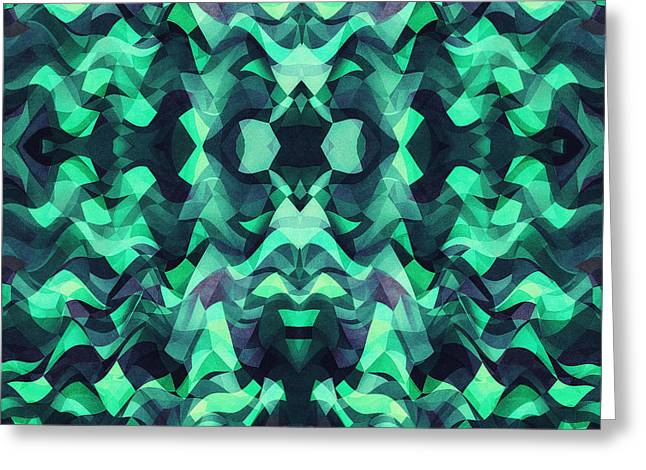 Abstract Surreal Chaos Theory In Modern Poison Turquoise Green Greeting Card by Philipp Rietz
