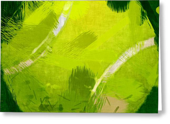 Tennis Ball Greeting Cards - Abstract Tennis Ball Greeting Card by David G Paul