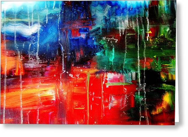 Run Down Paintings Greeting Cards - Abstract The Red River Runs Down Greeting Card by Angela  Holladay