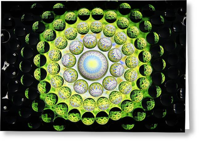 Geometrical Art Greeting Cards - Abstract Thru Glass Bubbles#5 Greeting Card by Pasha  Mad