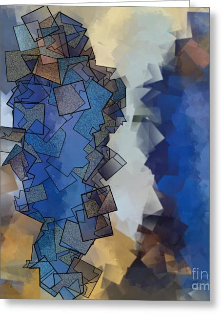 Office Space Digital Greeting Cards - Blue Figures - Abstract Tiles No15.822 Greeting Card by Jason Freedman