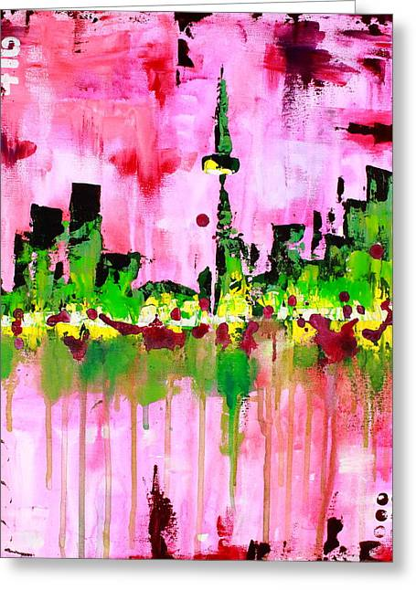 416 Greeting Cards - Abstract Toronto Skyline Greeting Card by Kayla Mallen