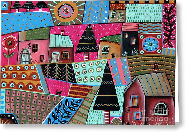 Abstract Town Greeting Card by Karla Gerard