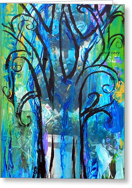 Upcycle Greeting Cards - Abstract Tree In Spring Greeting Card by Genevieve Esson