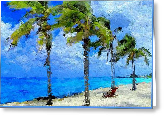 Abstract Tropical Palm Beach Greeting Card by Anthony Fishburne