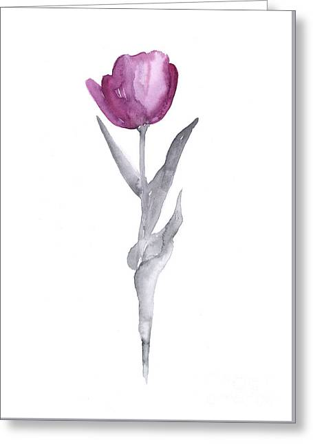 Abstract Tulip Flower Watercolor Painting Greeting Card by Joanna Szmerdt
