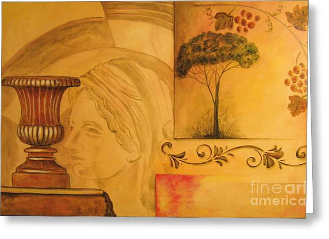 Italian Art Paintings Greeting Cards - Abstract Tuscany garden Greeting Card by Italian Art