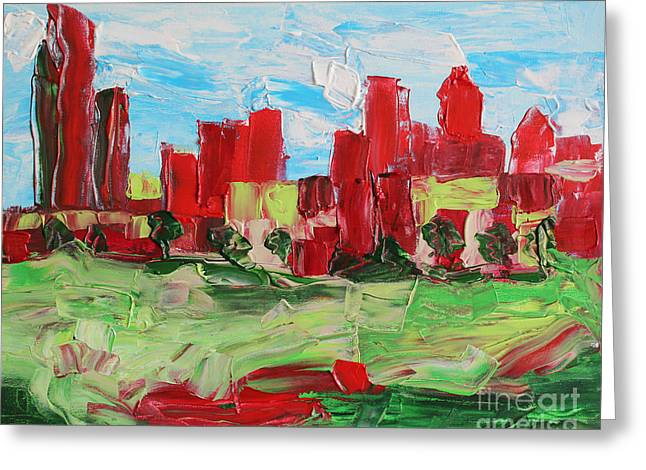 Charlotte Paintings Greeting Cards - Abstract Uptown 6586 Greeting Card by Robert Yaeger