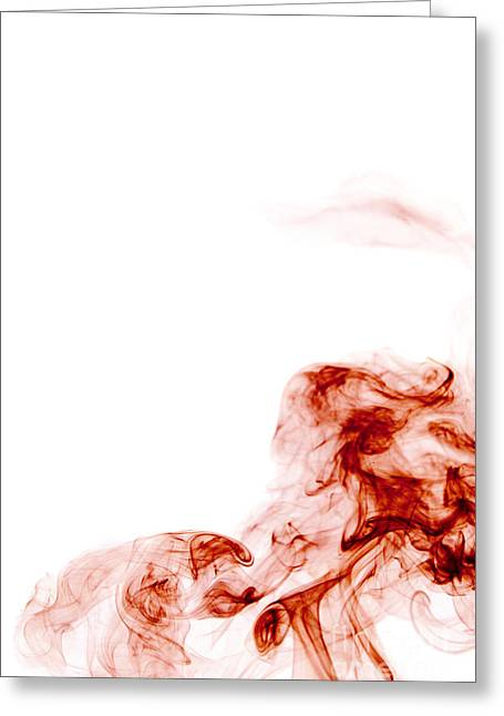 Abstract Vertical Blood Red Mood Colored Smoke Wall Art 01 Greeting Card by Alexandra K