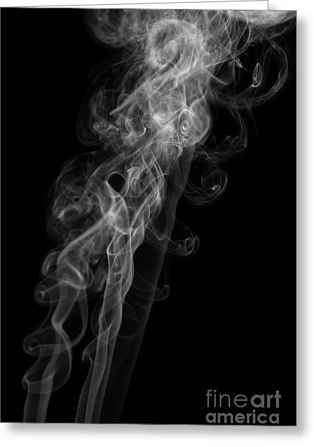 Angels Smoking Greeting Cards - Abstract Vertical Monochrome White Mood Colored Smoke Wall Art 01 Greeting Card by Alexandra K