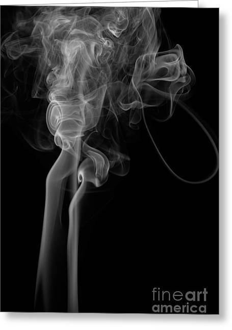 Angels Smoking Paintings Greeting Cards - Abstract Vertical Monochrome White Mood Colored Smoke Wall Art 02 Greeting Card by Alexandra K