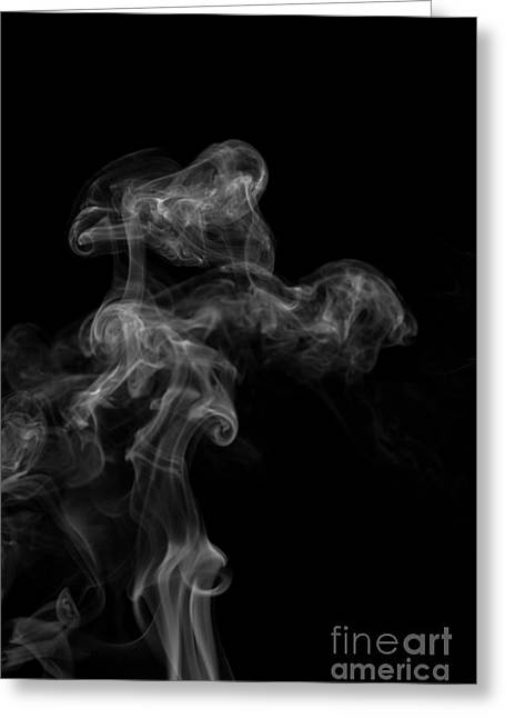 Angels Smoking Paintings Greeting Cards - Abstract Vertical Monochrome White Mood Colored Smoke Wall Art 04 Greeting Card by Alexandra K