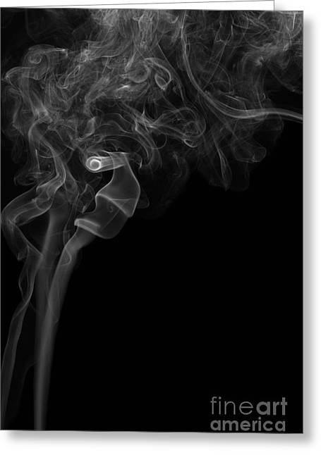 Angels Smoking Paintings Greeting Cards - Abstract Vertical Monochrome White Mood Colored Smoke Wall Art 05 Greeting Card by Alexandra K
