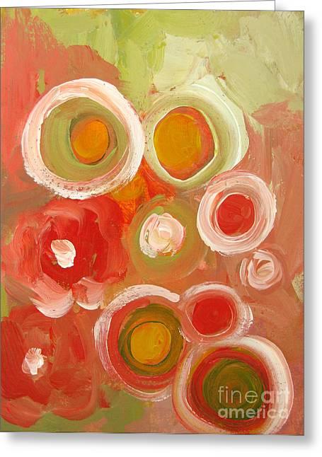 Coral Colors Greeting Cards - Abstract VIII Greeting Card by Patricia Awapara