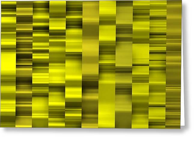 Geometric Shape Greeting Cards - Abstract W-1 Yellow Greeting Card by Alberto  RuiZ
