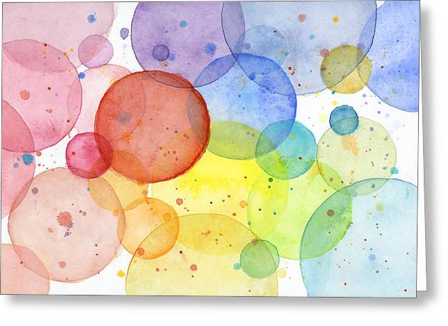 Geometric Design Greeting Cards - Abstract Watercolor Rainbow Circles Greeting Card by Olga Shvartsur