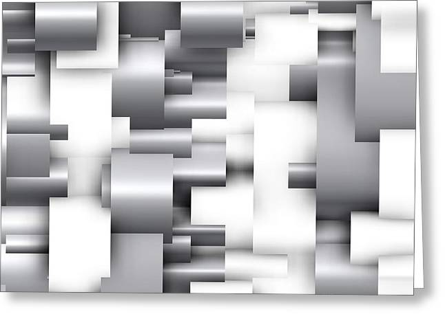 Geometric Greeting Cards - Abstract White and grey Greeting Card by Alberto  RuiZ