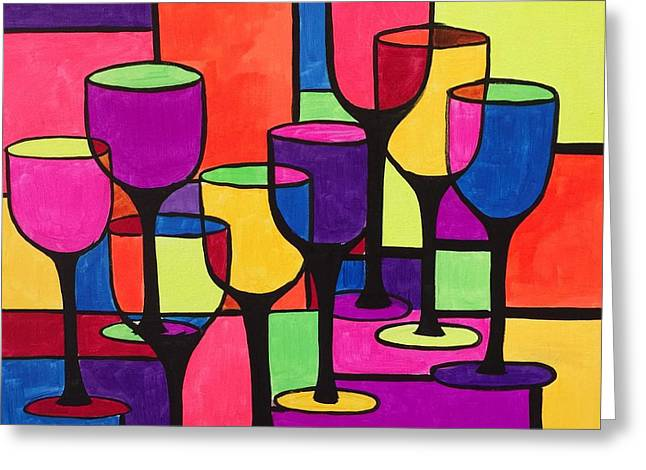Wine-glass Greeting Cards - Abstract Wine Glasses Greeting Card by Lauren Luna