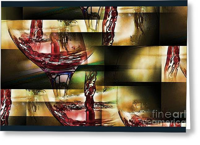 Pouring Wine Greeting Cards - Abstract Wine II Greeting Card by Pamela Blizzard