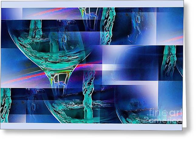 Pouring Wine Greeting Cards - Abstract Wine  Greeting Card by Pamela Blizzard