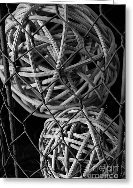 Abstract Wire And Spheres Greeting Card by Edward Fielding