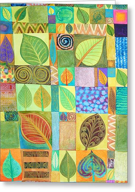 Playful Greeting Cards - Abstract with Leaves Greeting Card by Jennifer Baird