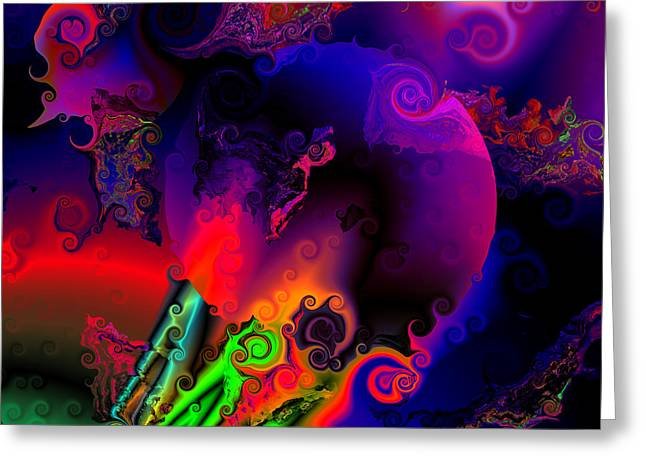 Abstract Colorful Algorithmic Digital Contemporary Greeting Cards - Abstract World 22 Greeting Card by Claude McCoy