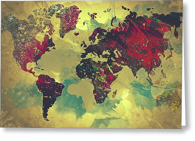 Office Space Digital Greeting Cards - Abstract World Map Greeting Card by Taylan Soyturk