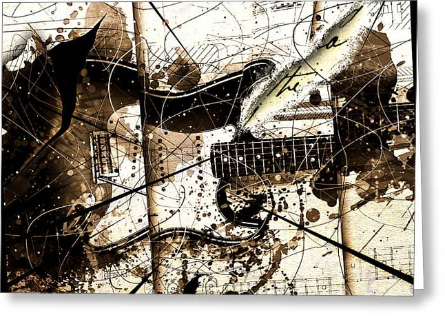 Guitar Art Greeting Cards - Abstracta 32 Strat I Greeting Card by Gary Bodnar