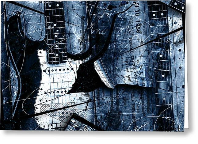Guitar Art Greeting Cards - Abstracta 33 Blue Stratos Greeting Card by Gary Bodnar