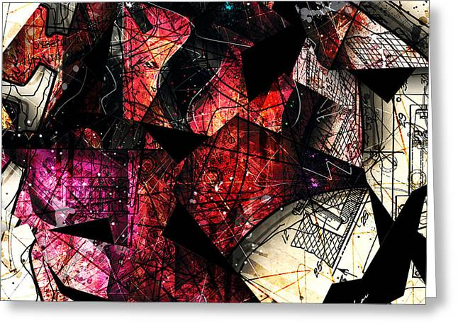 Red Guitar Digital Art Greeting Cards - Abstracta_21 Stratavari Moderna Greeting Card by Gary Bodnar