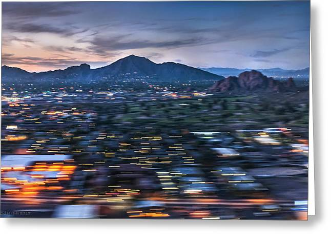 Arizonia Greeting Cards - Abstracted Sunset Landing Greeting Card by Louise Hill