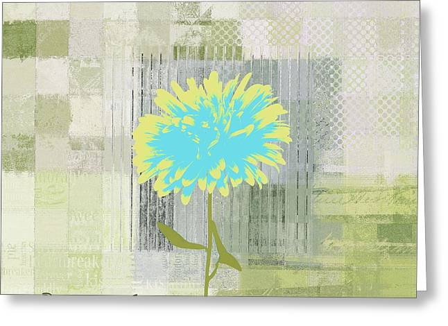 Blue Flowers Digital Art Greeting Cards - Abstractionnel - 29grfl3c-gr3 Greeting Card by Variance Collections