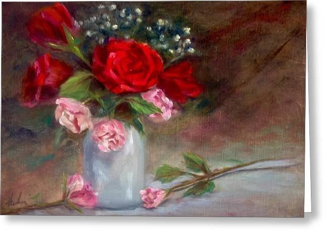 Flower Still Life Prints Greeting Cards - Abundance Greeting Card by Anne Barberi