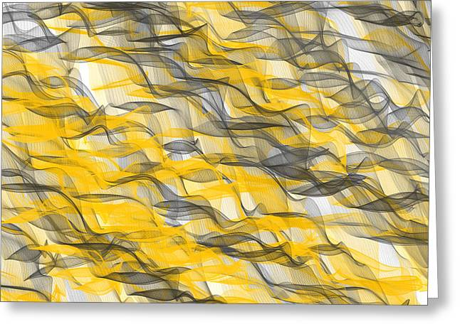 Yellow And Gray Abstract Greeting Cards - Abundance Greeting Card by Lourry Legarde