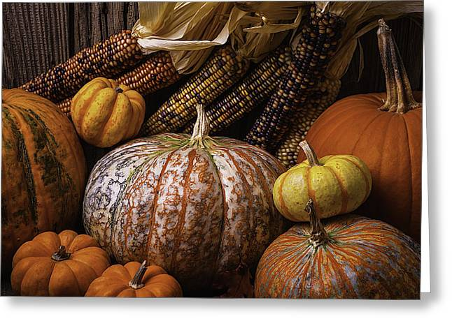 Colorful Indian Greeting Cards - Abundance Of Autumn Greeting Card by Garry Gay