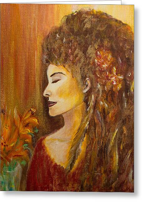 Spiritual Portrait Of Woman Greeting Cards - Abundance Greeting Card by Solveig Katrin