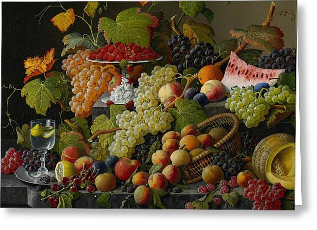 Melon Paintings Greeting Cards - Abundant Fruit Greeting Card by Severin Roesen