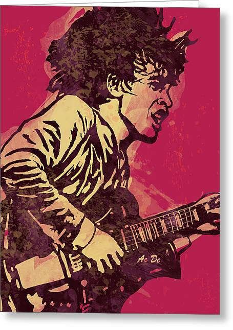 Continuing Greeting Cards - AC/DC Pop Stylised Art Sketch Poster Greeting Card by Kim Wang