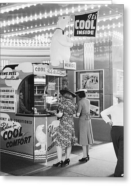 Ac Movie Theater Patrons Greeting Card by John Vachon