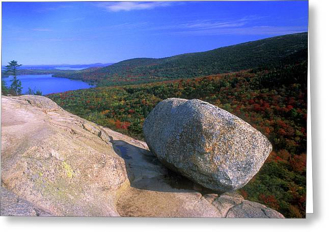 Acadia Bubble Rock Greeting Card by John Burk