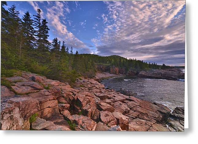 Maine Beach Greeting Cards - Acadia Sunrise Greeting Card by Stephen  Vecchiotti