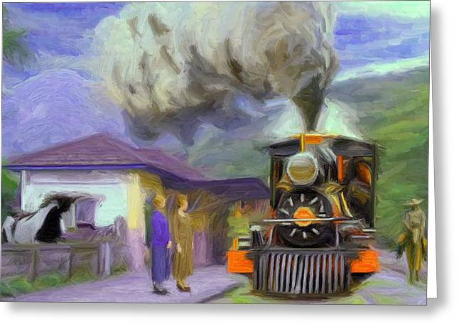 Townscape Digital Art Greeting Cards - Acarau Train Station Greeting Card by Caito Junqueira