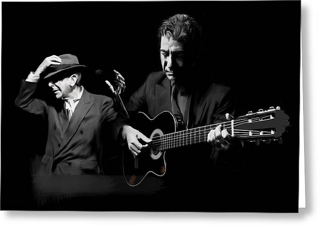 Accompaniment  Lenard Cohen Greeting Card by Iconic Images Art Gallery David Pucciarelli