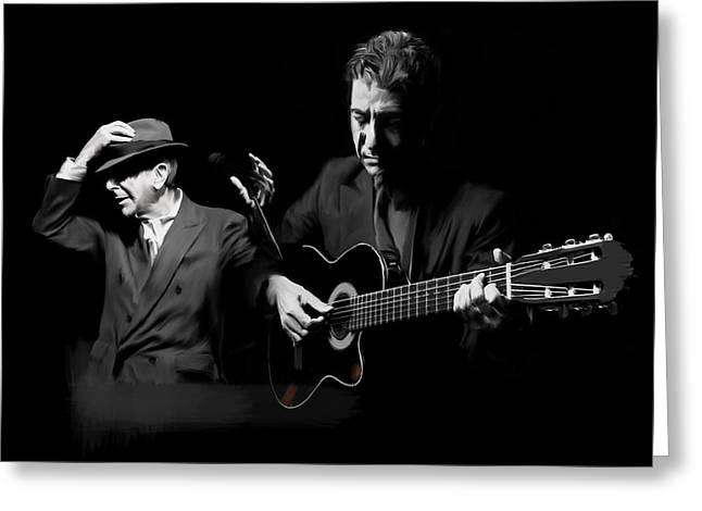 Leonard Cohen Greeting Cards - Accompaniment  Lenard Cohen Greeting Card by Iconic Images Art Gallery David Pucciarelli