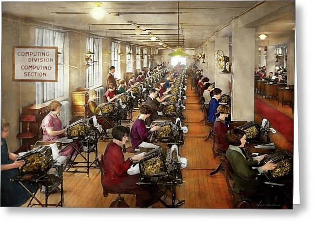 Accountant - The Enumeration Division 1924 Greeting Card by Mike Savad