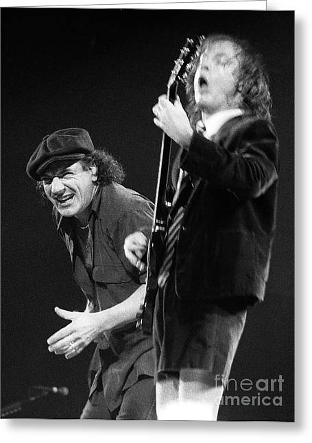 Malcolm Young Greeting Cards - ACDC-96-Angus-Brian-0114 Greeting Card by Timothy Bischoff